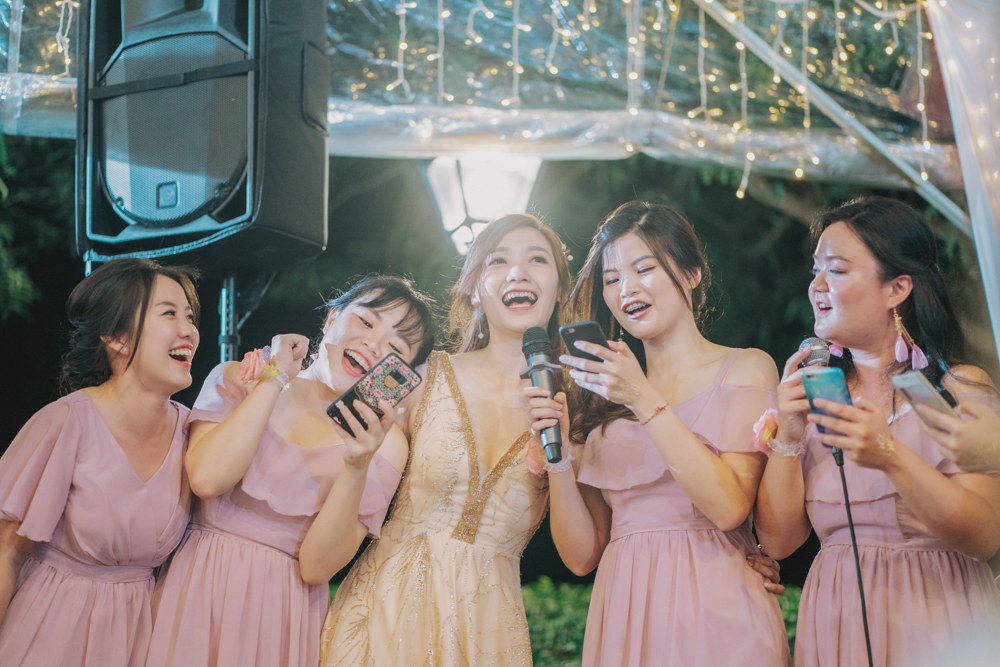 bridesmaid singing celebration wedding reception botanical mansion